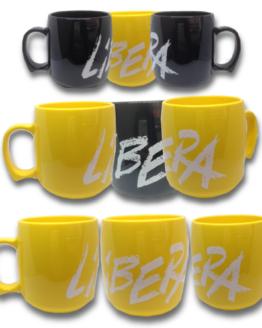Tazze di Libera gialle e nere